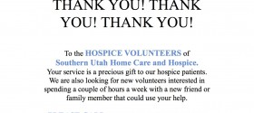 Looking for Volunteers (Southern Utah Home Care and Hospice)