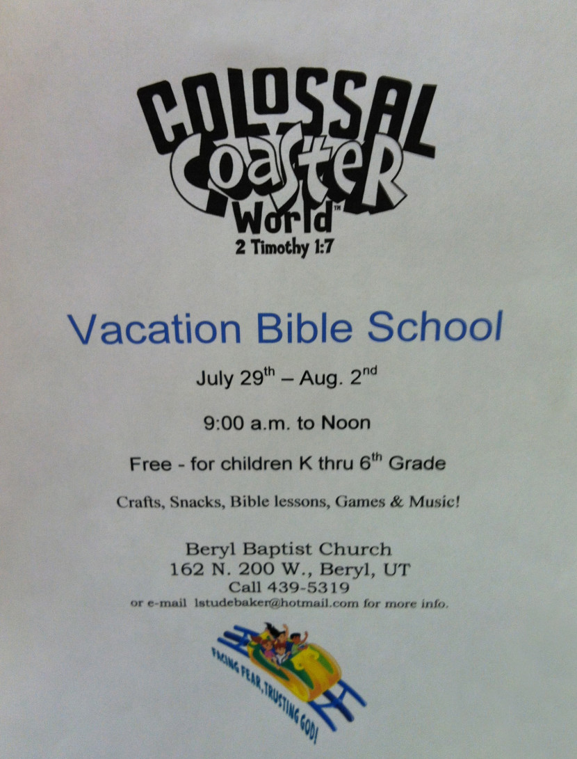 Vacation Bible School Beryl Baptist (July 29-Aug 2)