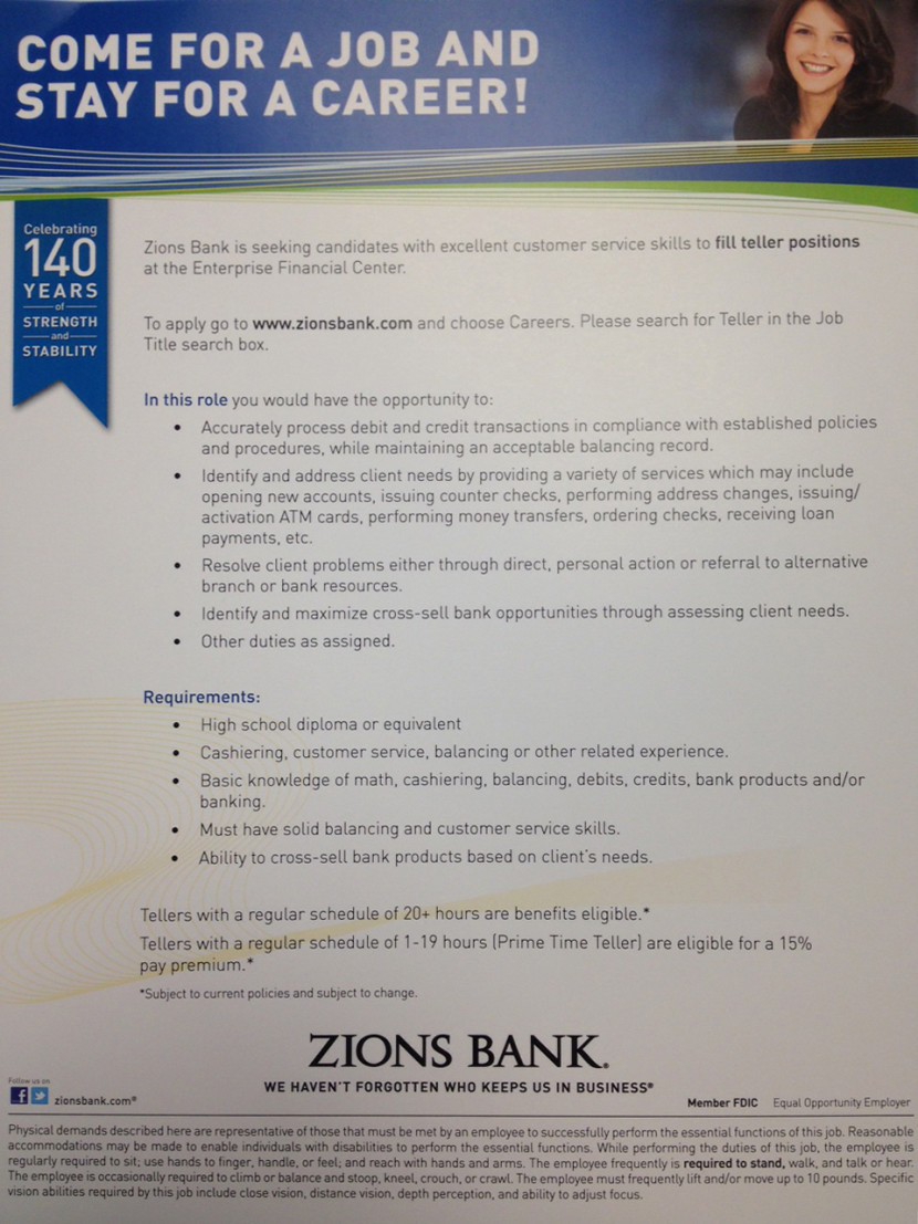 Zions Bank Teller Position Open in Enterprise