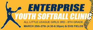 Enterprise Youth Softball Clinic (March 25-27) 4:30pm-6:30pm