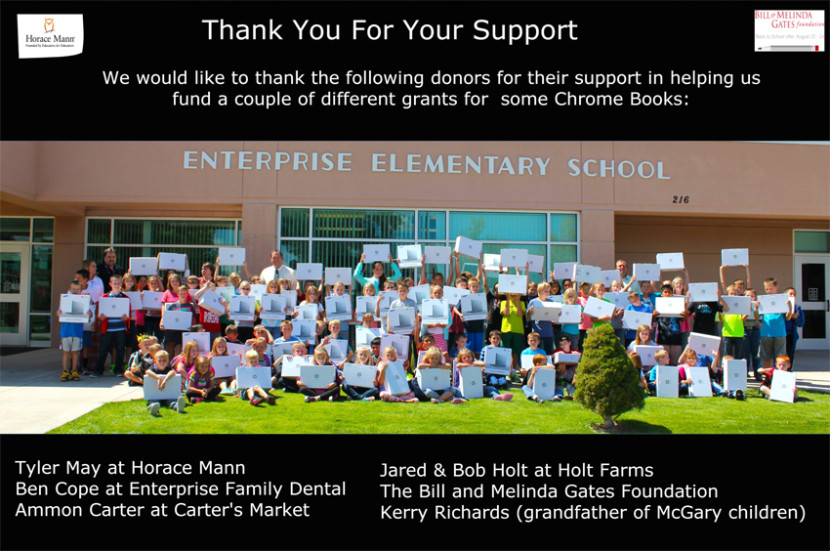 Donors Help Enterprise Elementary Bring in Chrome Books