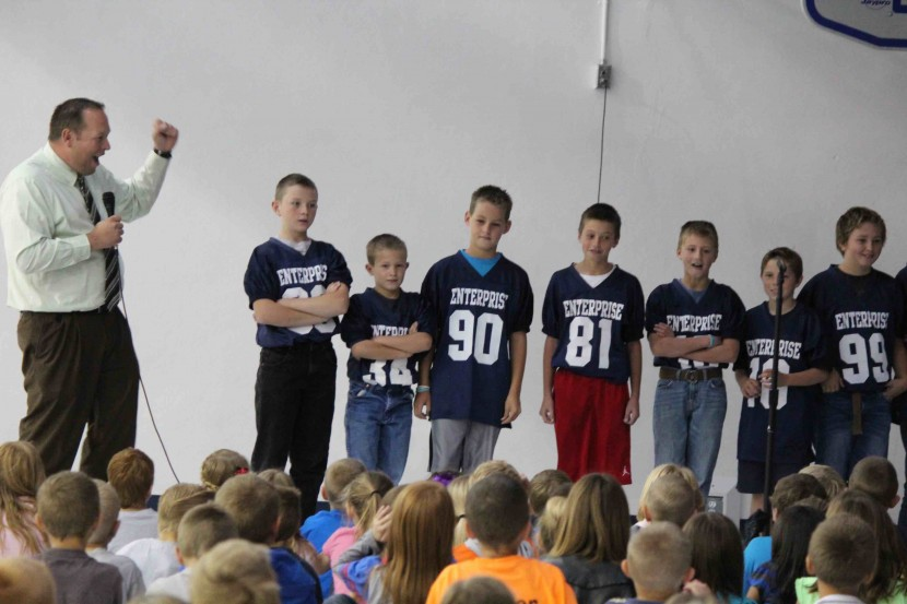 Enterprise Elementary Football Players Honored at Assembly