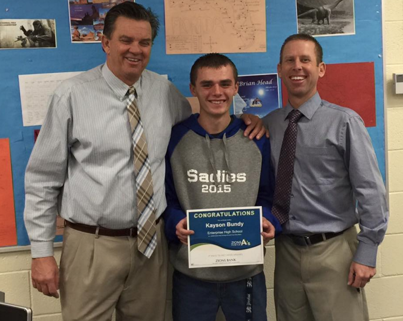 TEEN WINS ZIONS BANK AWARD FOR GREAT GRADES