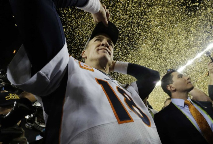 (Credit: AP/ Julio Cortez) Denver Broncos quarterback Peyton Manning walks on the field after their win against the Carolina Panthers in Super Bowl 50 on Sunday, Feb. 7, 2016, in Santa Clara, Calif.