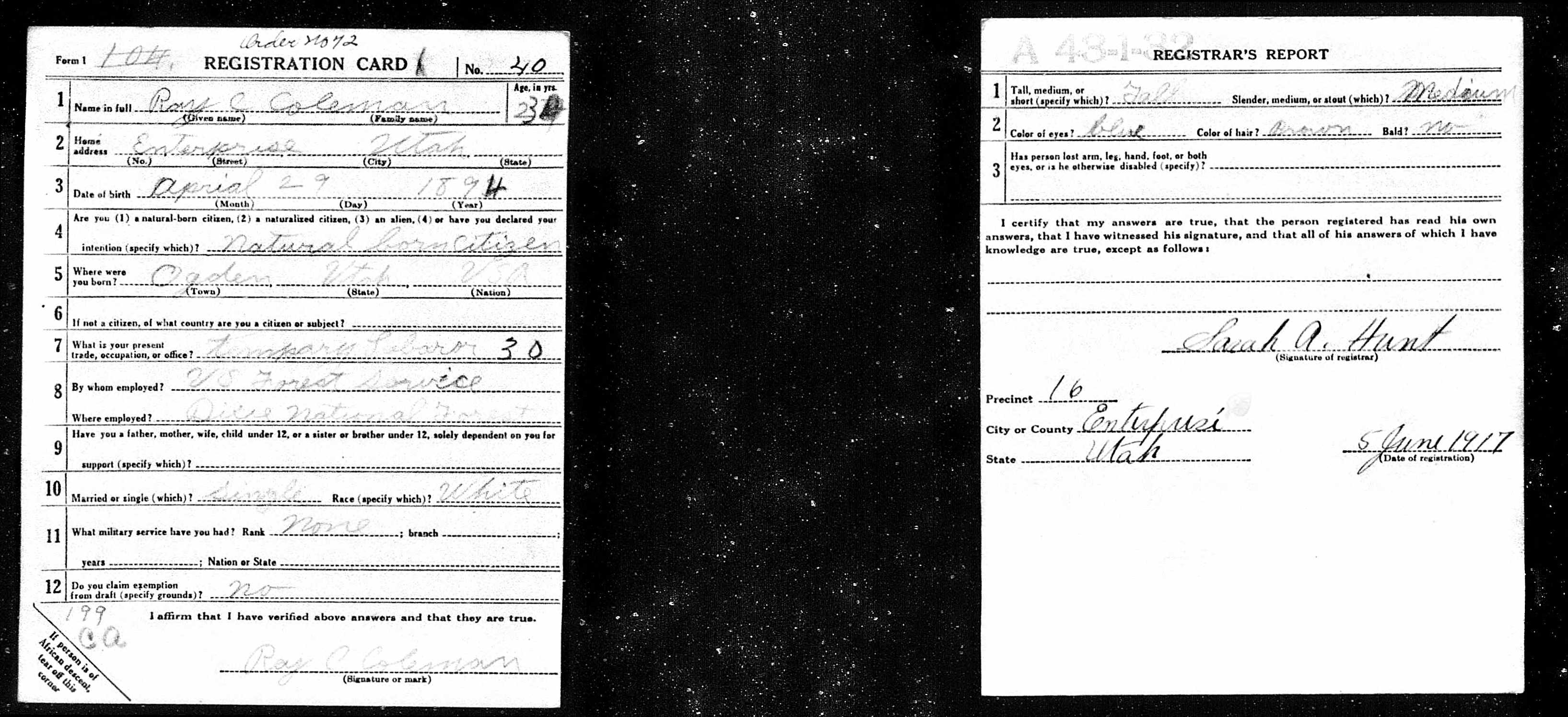 Ray Coleman's draft card. Photo credit: Ancestry.com