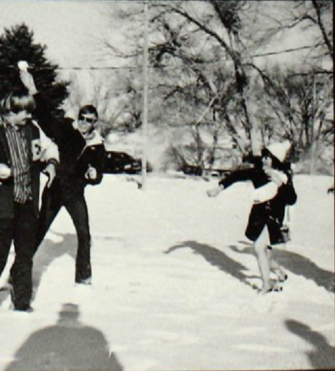 1973 Enterprise yrbook snow ball fight