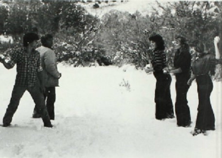 Another snowball fight in 1982 Enterprise High School yearbook