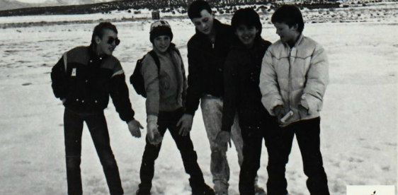 Hanging out in the snow - 1991 Enterprise High School yearbook