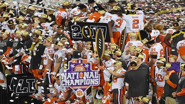 Clemson celebrates on the field with the national championship trophy. Photo: Jasen Vinlove USA TODAY Sports