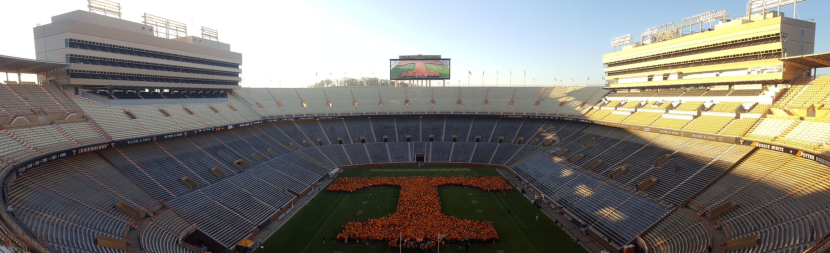 The University of Tennessee broke the world record for the largest human letter