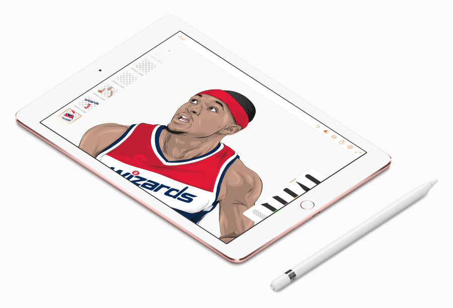 iPad Pro artist illustrates NBA stars