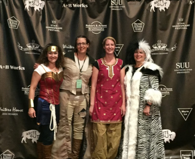 Volunteers Micki Ericksen, Jasmine Gardner, Heather Gonzalez, and Paige Cook join in on the fun at the costume gala.