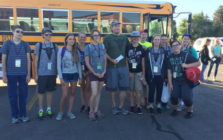 Brandon Mull and some of his workshop students on their way to Bryce Canyon.