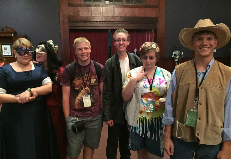 Emily Shurtliff, Star Hall, Ted Peterson, Caleb Cloud, Meika Jorgenson, and Shane Waite having a good time at the costume gala.
