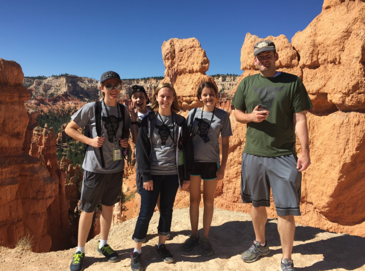 Author Brandon Mull with daughter Sadie and some of his workshop students enjoying the hike through Bryce Canyon.
